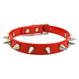 Red Vegan Leather Collar Choker Punk Spike