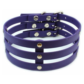 Purple Vegan Leather Wide Cage Collar Choker