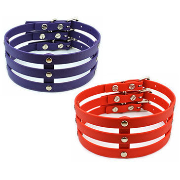 Red & Purple Vegan Leather Cage Collars Now Available!