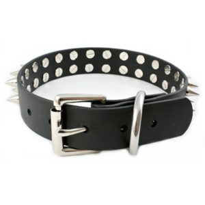 Vegan Leather Double Row Punk Spike Collar 4