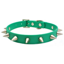 Spiked Green Vegan Leather Collar