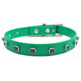 Swarovski® Amethyst Crystal on Green Vegan Leather Collar