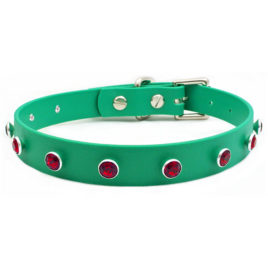 Swarovski® Scarlet Red Crystal on Green Vegan Leather Collar