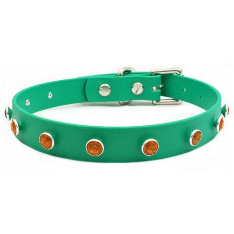 Green-Vegan-Leather-Swarovski-Tangerine-Orange-Crystal-Collar-Choker-1
