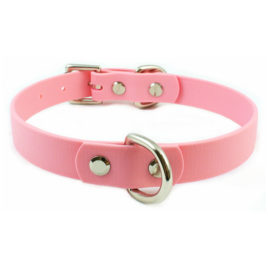 Single D-Ring Baby Pink Vegan Leather Collar