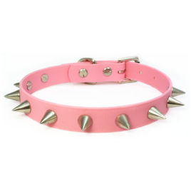 Baby Pink Spiked Vegan Leather Collar