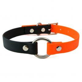 Orange & Black Two Colour O-Ring Vegan Leather Collar